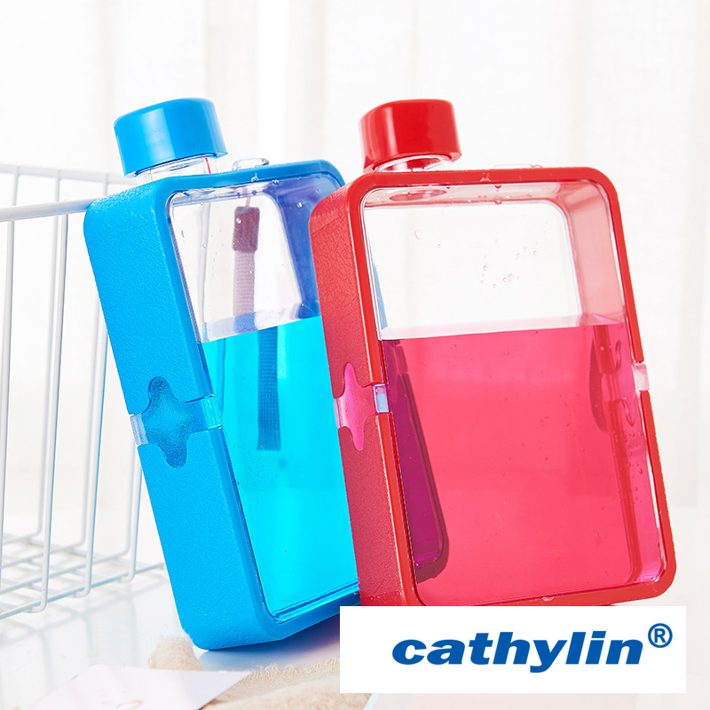 Manufacturer eco friendly fashionable colours large mini cute notebook bpa free flat square plastic drinking water bottle