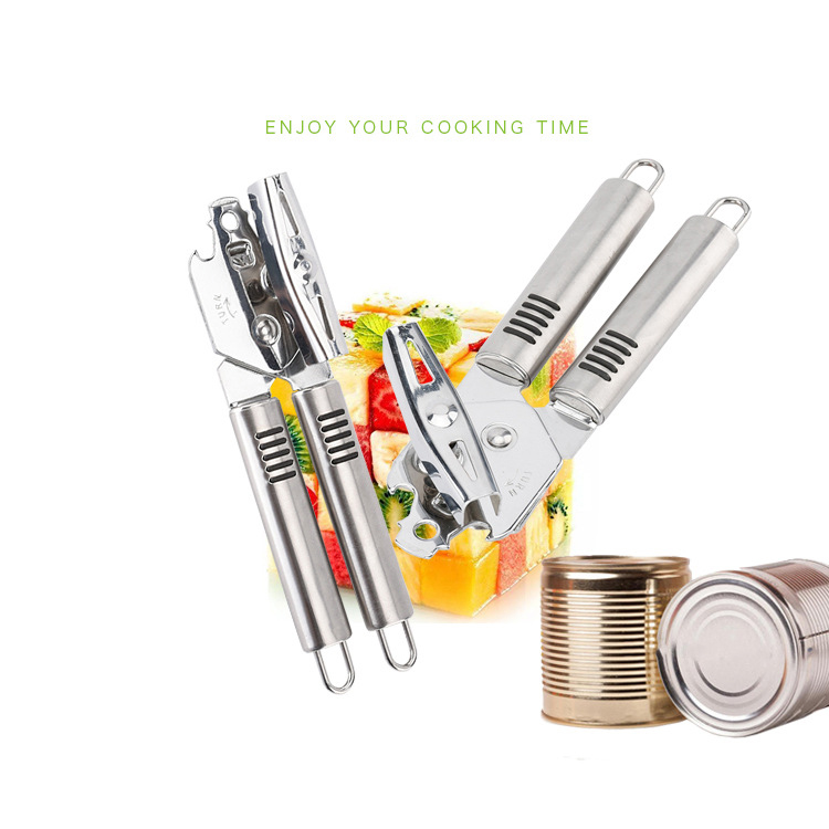 Custom multifunctional ss smooth edge safety beer bottle opener easy crank stainless steel manual can opener