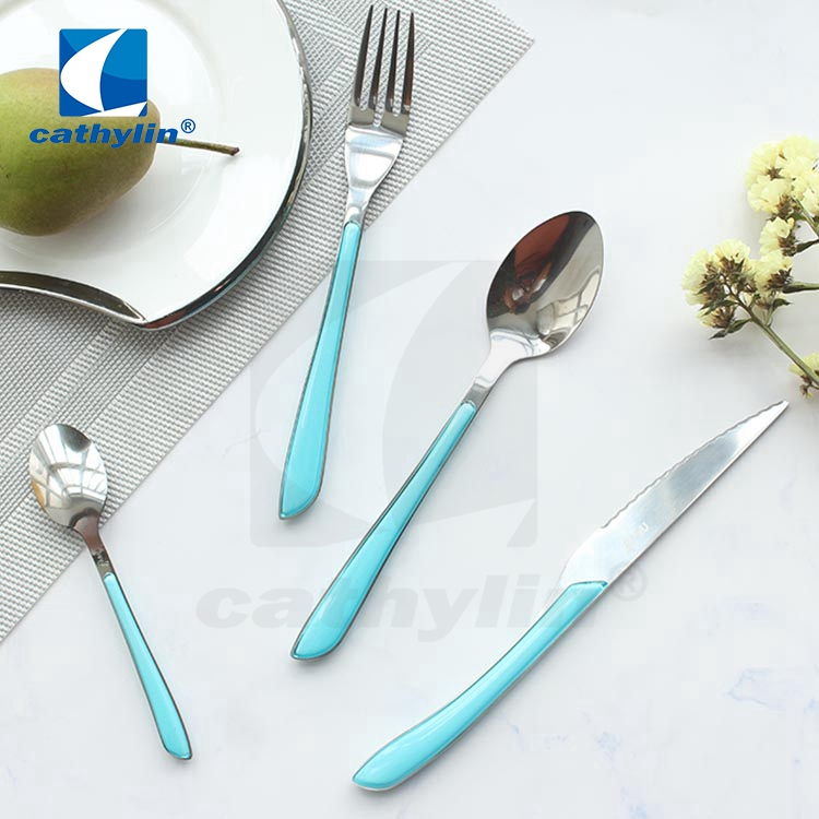 Restaurant 18/0 mirror polish cutlery set with plastic handle