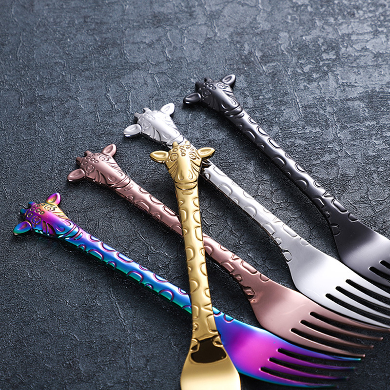 Coloured colorful metal inox 304 stainless steel animal giraffe tea coffee sugar stirring spoon gift set