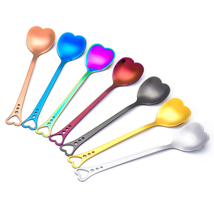 Funny mini cute metal stainless steel unique tea dessert coffee spoon gift silver inox heart scoop