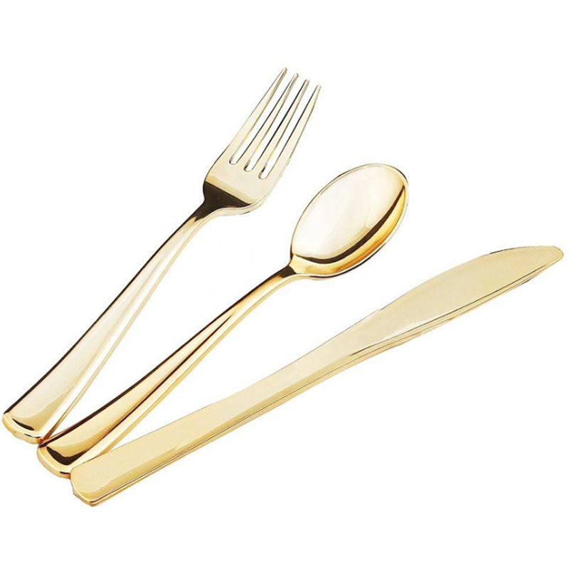 Disposable flatware silverware gold plastic spoons forks knives and plates cutlery set for wedding