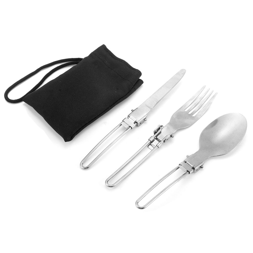 Collapsable reusable stainless steel metal titanium camping outdoor travel foldable small fork spoon knife folding spork