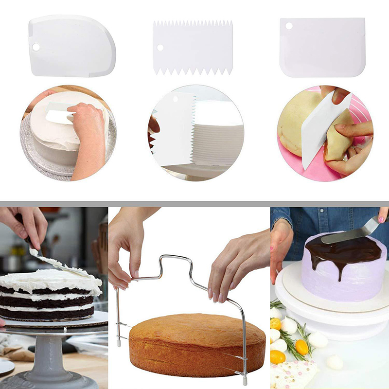 Plastic turntable base round rotating table revolving stand making baking cake tool set for wedding event cake decoration