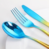 Disposable flatware silverware colorful plastic spoons forks and knives cutlery set for wedding gift events