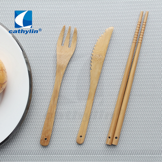 Cathylin wholesale wooden cutlery set with chopsticks fork and knife