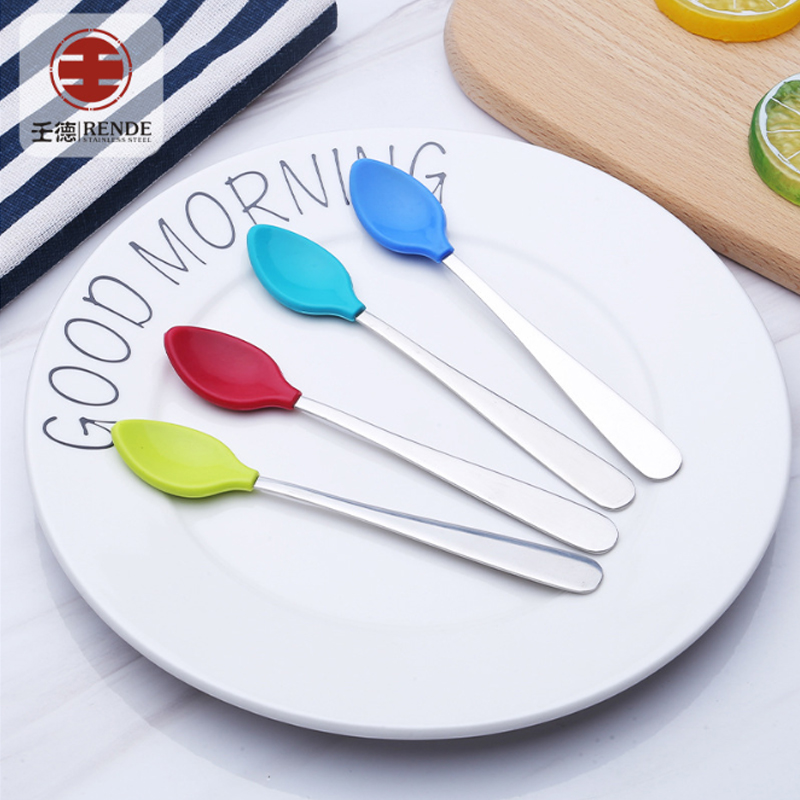 Silicon rubber head stainless steel handle teething infant baby feeding spoon kids childrens cutlery set