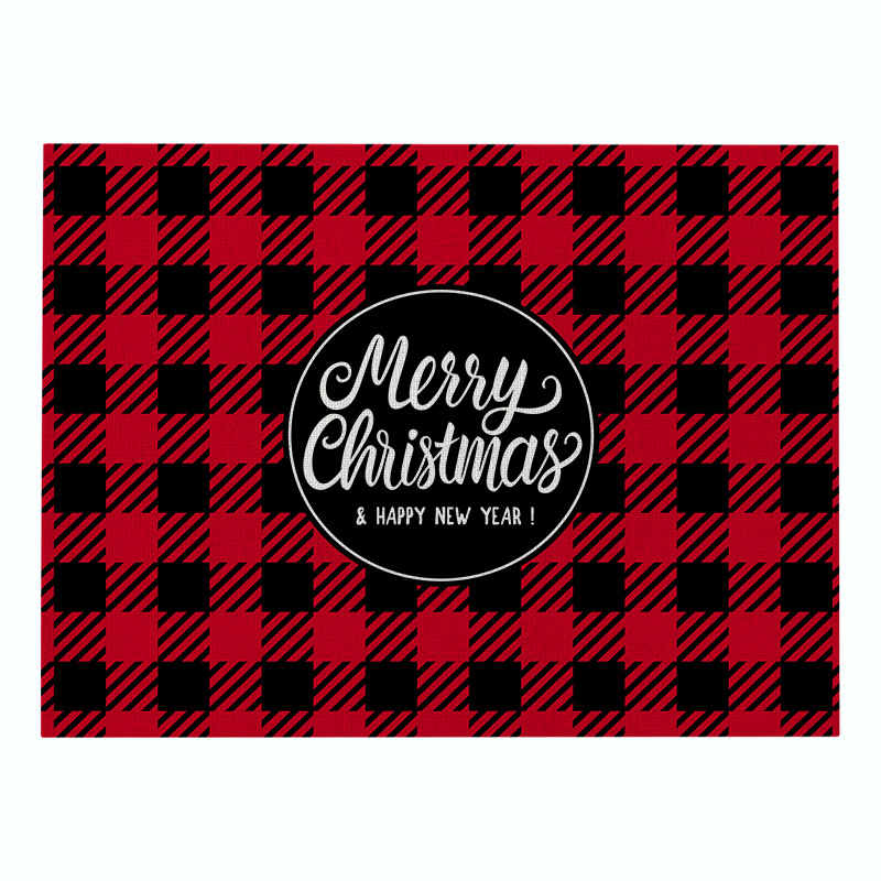Custom printing design square christmas red nordic cloth cotton woven dining table mat placemat for place kitchen