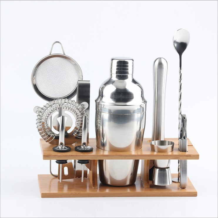 11 bartending kit silver color metal stainless steel cocktail shaker set with bamboo stand 360