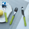 18/10 stainless steel kids baby flatware with colorful plastic handle children cutlery set