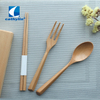 Cathylin wholesale eco friendly fork spoon chopsticks flatware with wooden box portable travel reusable bamboo cutlery set