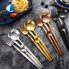 Cathylin wholesale bulk 18/10 stainless steel spoon fork knife with black white blue pink handle gold plated luxury flatware set