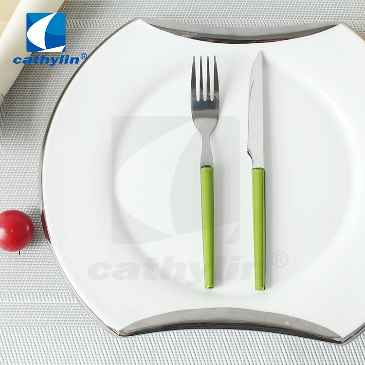 Modern 18/0 stainless steel cutlery set, plastic handle fruit knife and fork