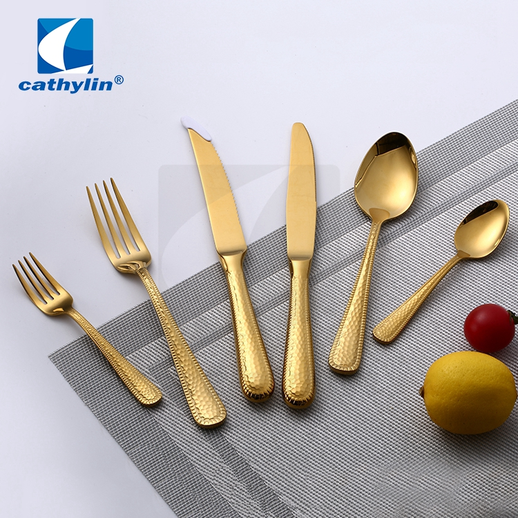 Cathylin 6pcs stainless steel picnic cutlery gold, hotel wedding matte flatware set