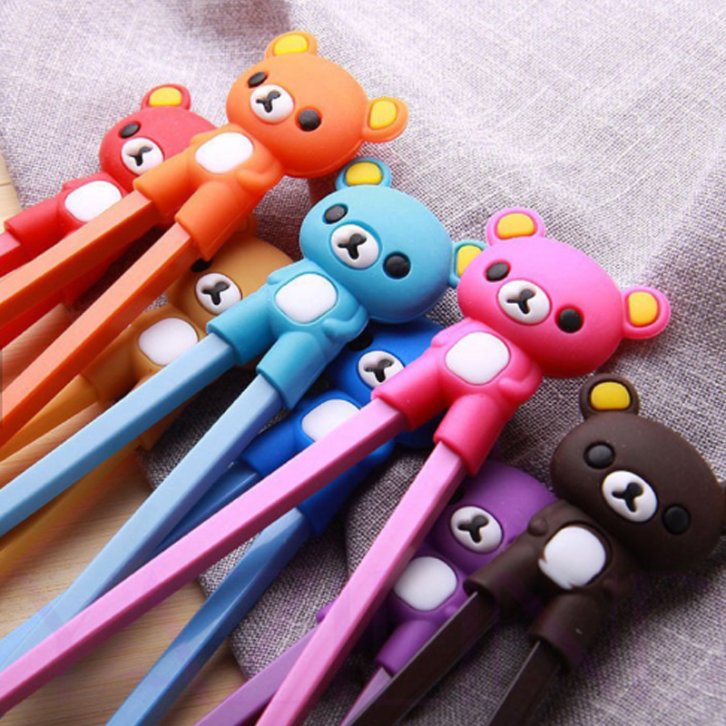 Cartoon bear reusable silicone baby children beginners learn training hinged chopsticks helper for kids