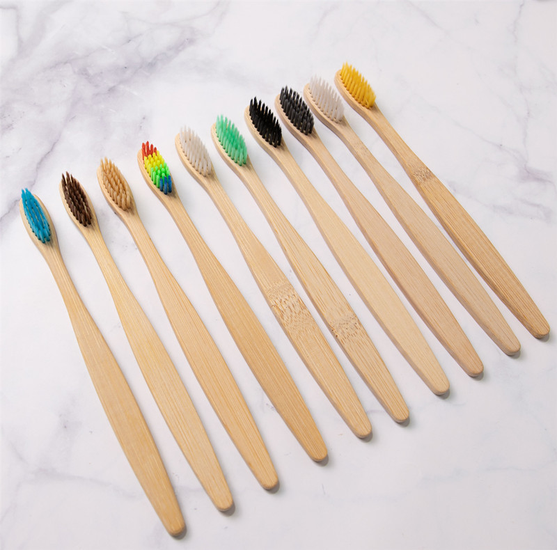 Customized logo eco reusable natural bamboo colorful head soft brush toothbrush for hotel